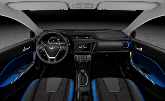 Blue & Dark Interior